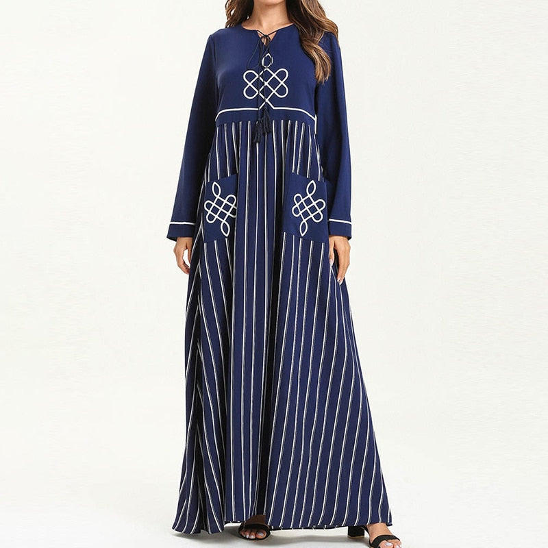 CHICEVER Embroidered Striped Dress For Women O Neck Long Sleeve Hit Color Dresses Female 2020 Autumn Fashion New Clothing