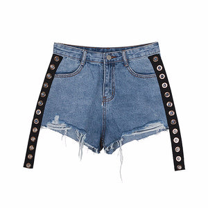Denim Short Jeans Female High Waist Patchwork Ribbons Ripped Streetwear Shorts Women 2020 Summer Fashion Tide (Blue M)
