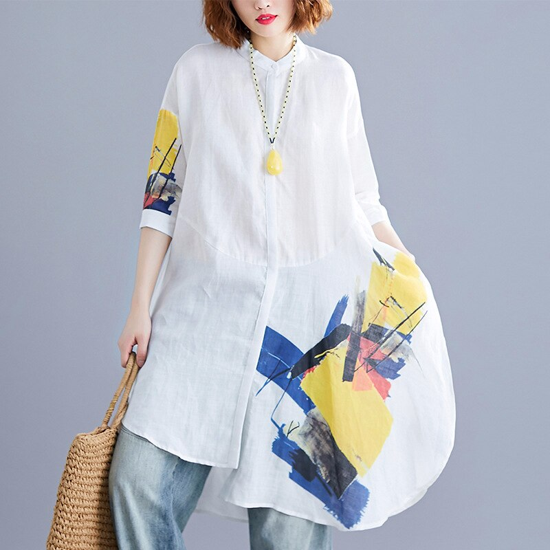 Print Hit Color Women's Shirts Side Split Stand Pocket Collar Half Sleeve Casual Blouse