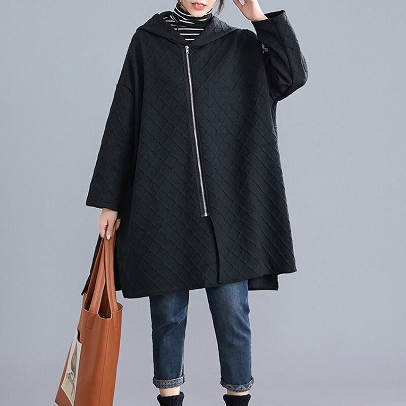 CHICEVER Korean Plaid Black Women Trenches Hooded Long Sleeve Pocket Oversize Loose Warm Coats Female Fashion New Clothes 2020