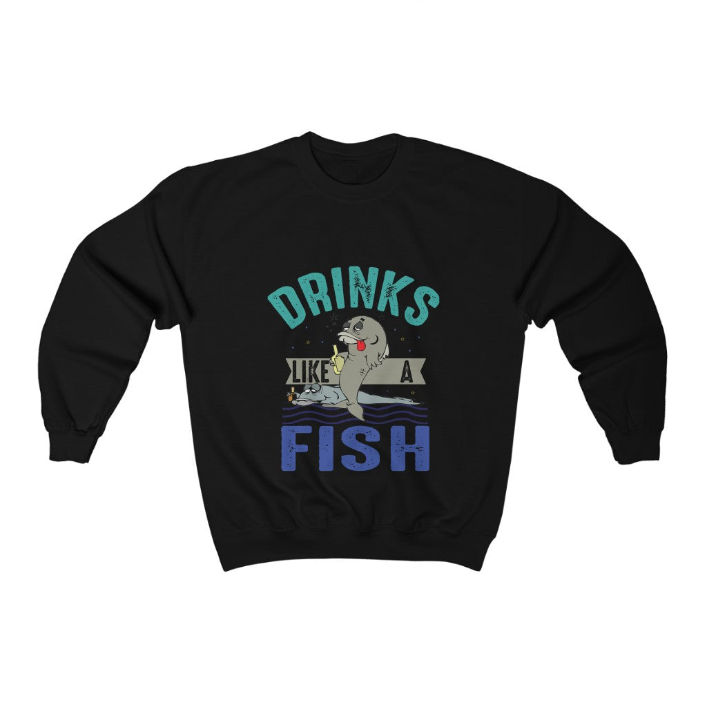 Unisex Drinks like a Fish Crew neck Sweatshirt