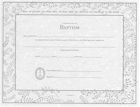 United Church Of Christ Baptism Certificates  SingleSheet  Ucc