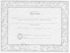 United Church of Christ Baptism Certificates - Single Sheet