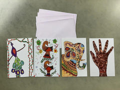 Handmade Cards from India - Pk of 4