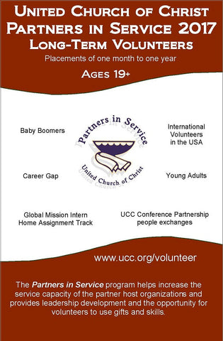 United Church of Christ Partners in Service 2017 | Long-Term Volunteers - Information Card