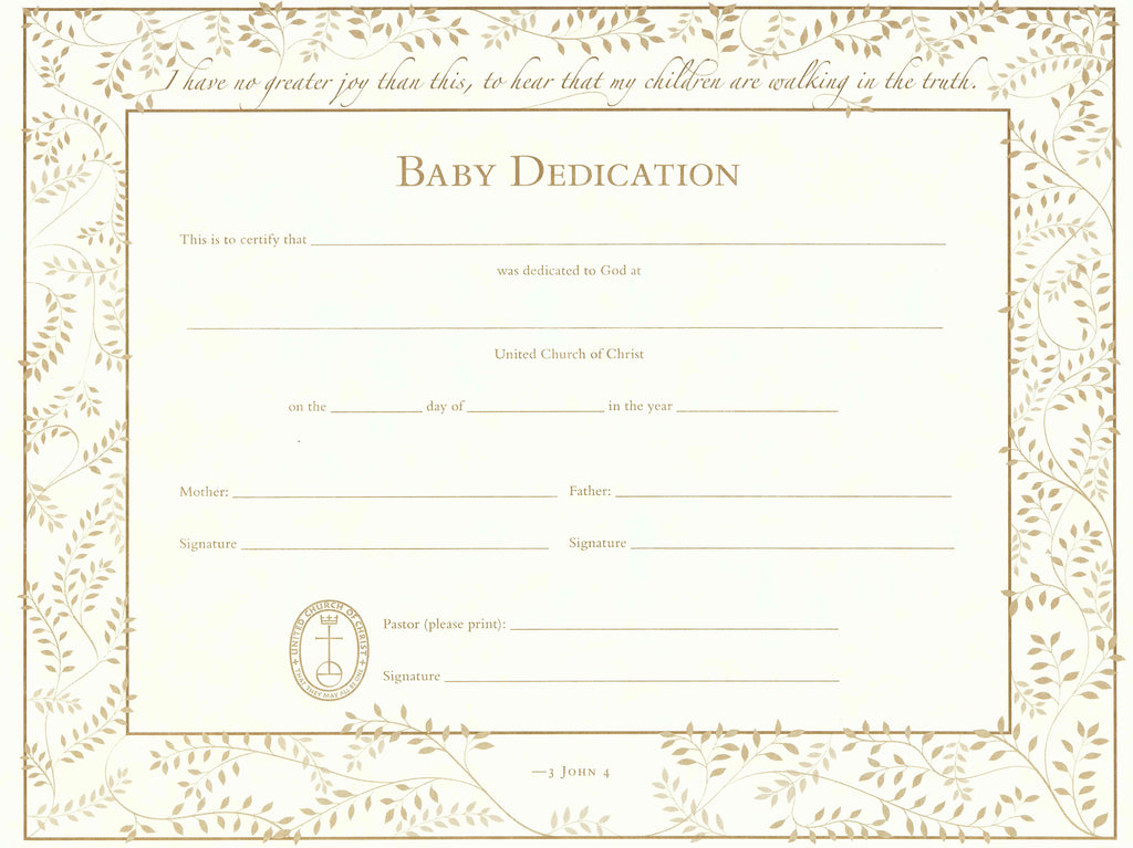United Church Of Christ Baby Dedication Certificate  SingleSheet