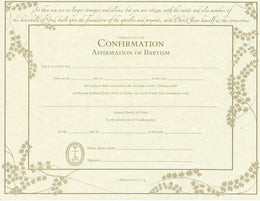 United Church Of Christ Confirmation Affirmation Baptism Certificate