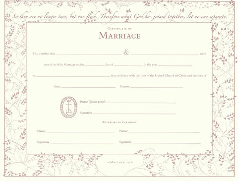 United Church of Christ Marriage Certificate - Single Sheet