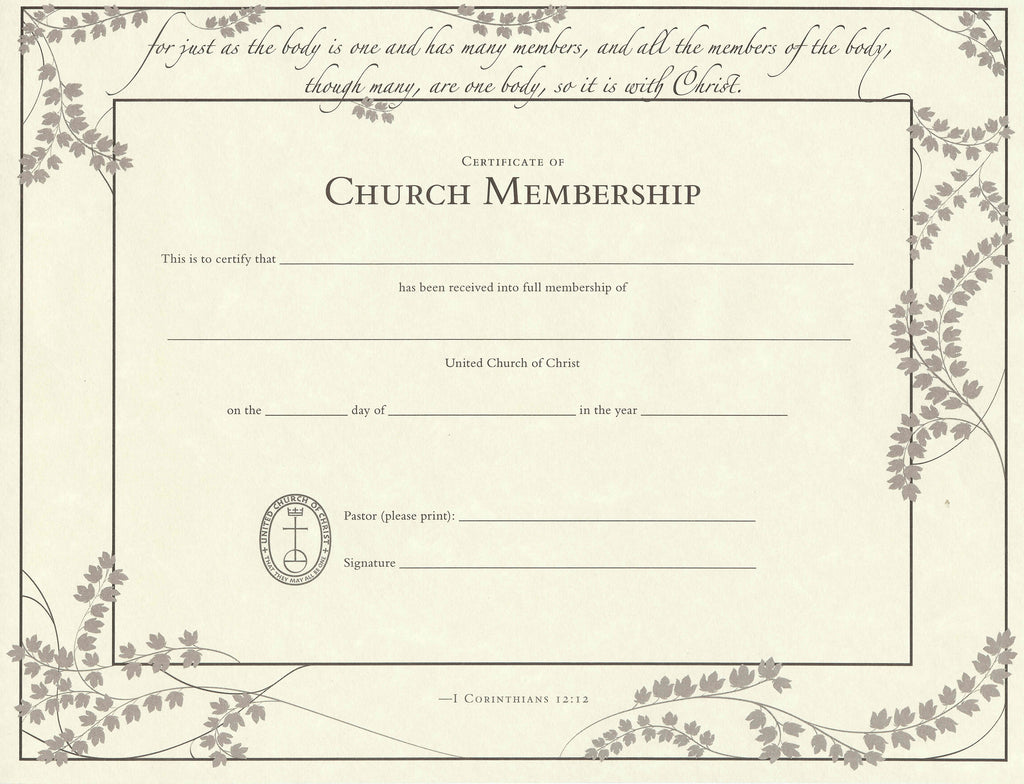 Baptism certificate online store baptism certificate wording united church of christ church membership certificate single sheet alramifo Choice Image