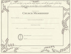 United Church of Christ Church Membership Certificate - Single Sheet