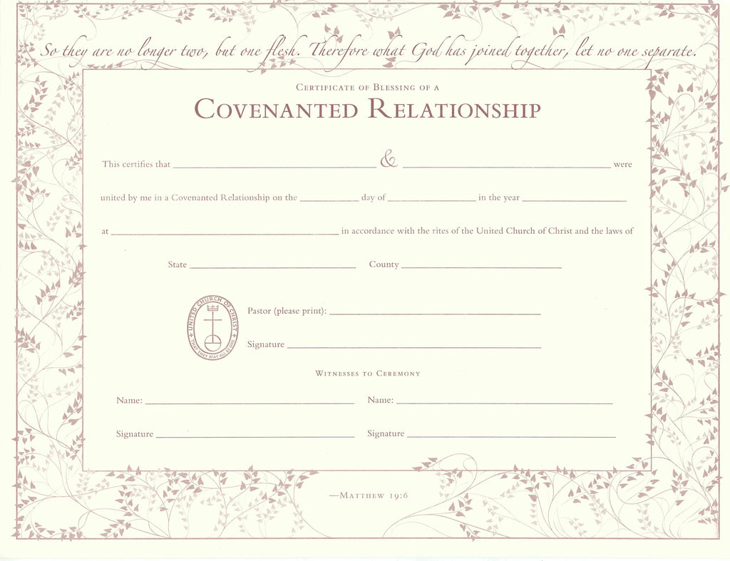 United church of christ blessing of a covenanted relationship united church of christ blessing of a covenanted relationship certificate single sheet 1betcityfo Images