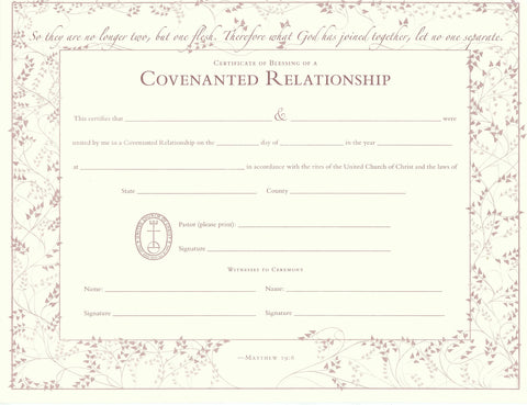 United Church of Christ Blessing of a Covenanted Relationship Certificate - Single Sheet