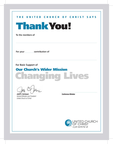 Our Church's Wider Mission (OCWM) | Thank You for Giving Certificate