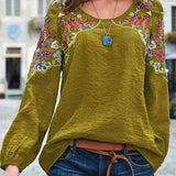 Cross-border 2019 spring and summer casual loose women's embroidery national wind top green XXL