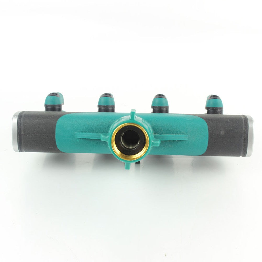 Hose Splitters Irrigation Adapter 4-way Water Hose Connectors Full Metal Body with Valves Handle and Rubberized Grip EU Standard