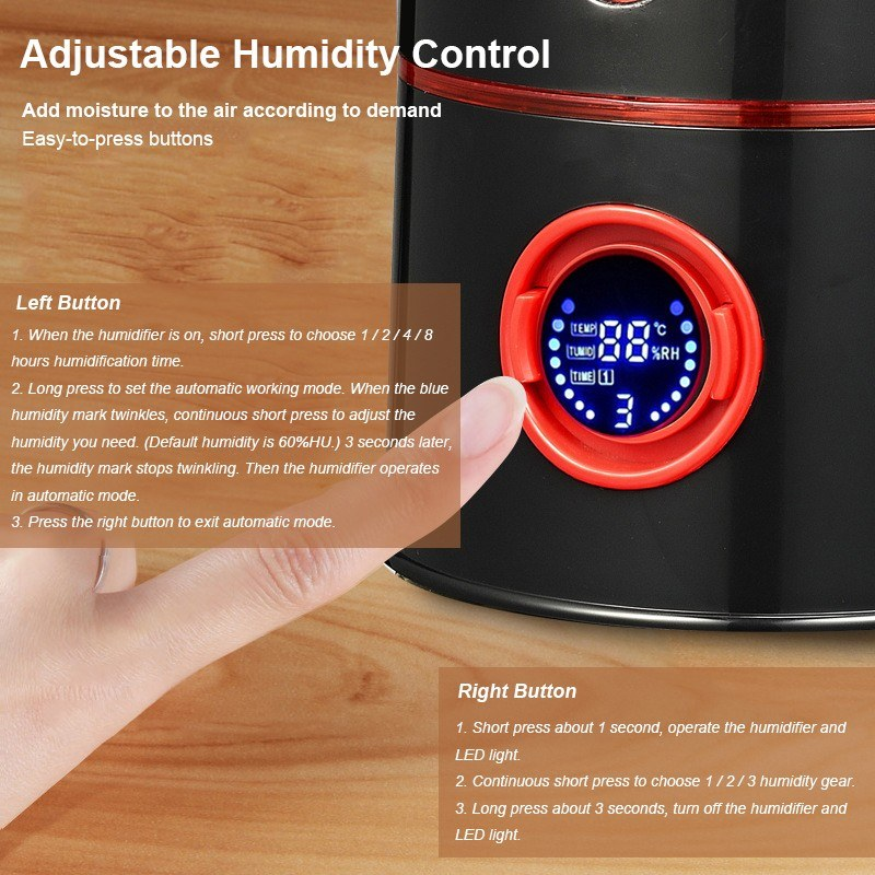 Go2Funlive 3200Ml Ultrasonic Air Humidifier Aroma Essential Oil Diffuser Timing Automatic Fogger Mist Maker With Screen And Led Night Light For Home Office