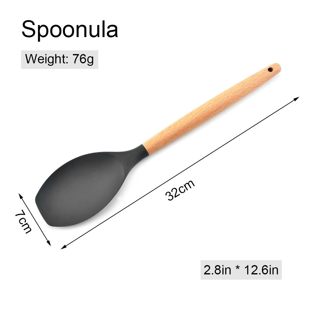 Go2Funlive Silicone Kitchen Utensil Set 11 Pcs Beech Wooden Handle Heat-Resistant Non-Stick Spoon Spatula Ladle Cooking Tools