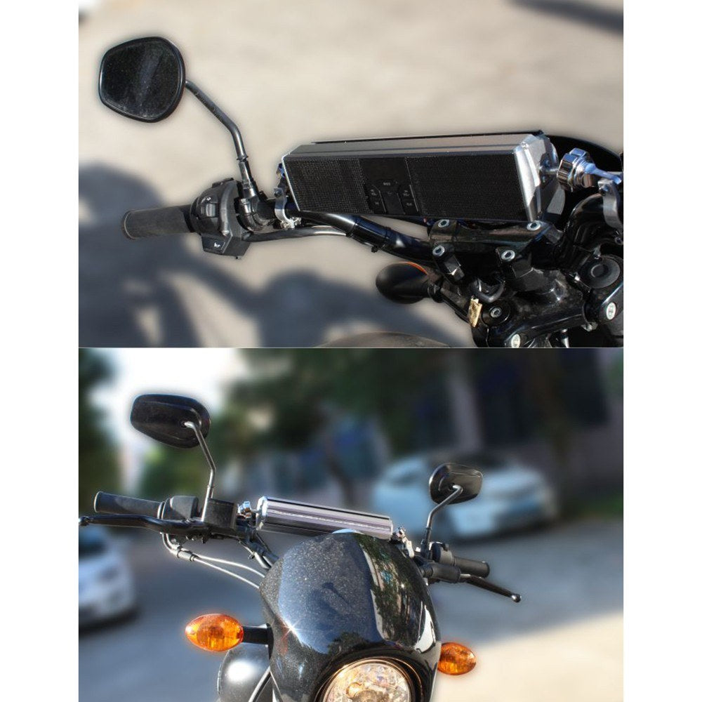 Motorcycle Wireless Stereo Speakers Handlebar MP3 Music Player Water-Resistant LED Display Stereo System