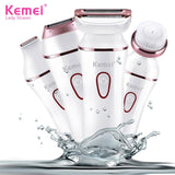 Go2Funlive Kemei Km-7202 4 In 1 Electric Epilator For Women Rechargeable Female Shaver Electric Lady Shavers Face Brush Hair Removal