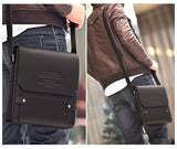 Vintage Men Shoulder Bag PU Leather Flap Top Casual Business Briefcase Crossbody Messenger Bag Coffee