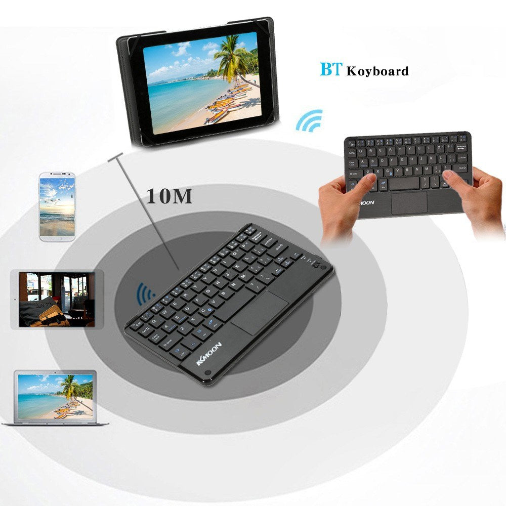 Go2Funlive Kkmoon 59 Keys Ultra Slim Thin Mini Bluetooth Keyboard With Touch Pad Panel For Android Windows Pc Tablet Smartphone
