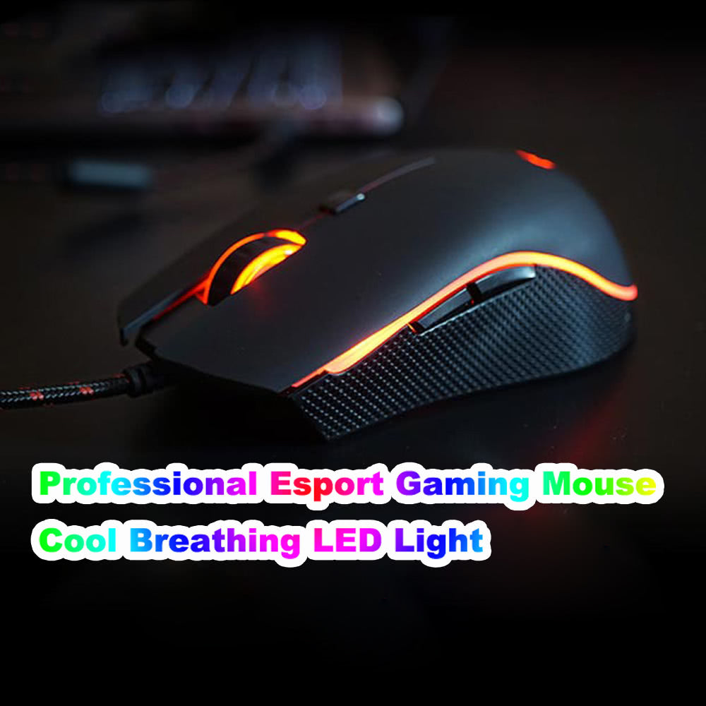 Go2Funlive Motospeed V40 Ergonomic Optical Professional Esport Gaming Mouse Mice Adjustable 4000 Dpi Breathing Led Light Usb Wired With 6 Buttons For Mac Laptop Pc Computer