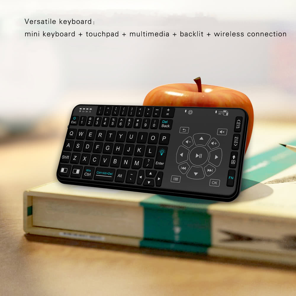 Go2Funlive Rii Rt504 2.4G Wireless Handheld Remote Mini Ultra Slim Thin Multifunction Multimedia Backlit Keyboard With Touchpad Trackpad Mouse Combo For Mac Desktop Laptop Pc Andriod Tv Box