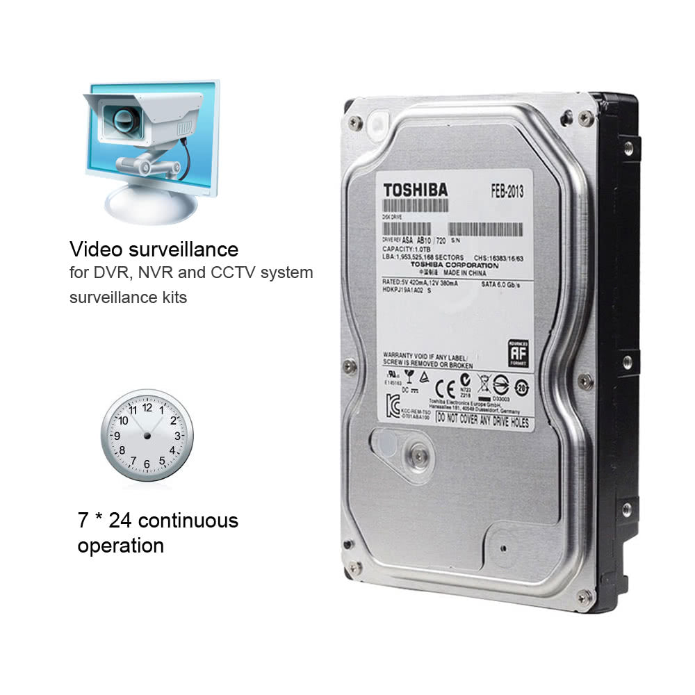 Go2Funlive Toshiba 1Tb Video Surveillance Hdd Internal Hard Disk Drive 5700 Rpm Sata 6Gb/S 3.5-Inch 32Mb Cache Dt01Aba100V For Dvr Nvr Cctv Camera Security System