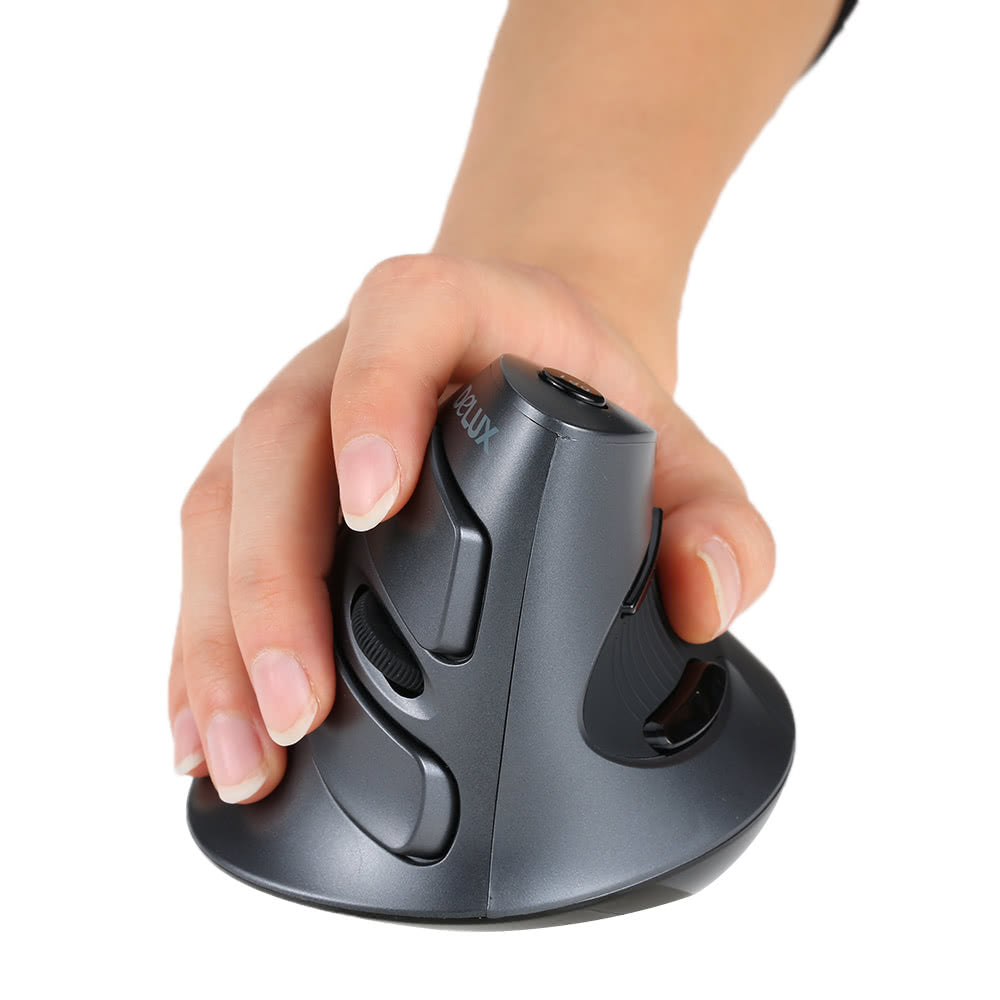 Go2Funlive Delux 2.4G Wireless Ergonomic Vertical Optical Mouse Computer Mice Adjustable 1600 Dpi 5D Buttons With Removable Palm Rest