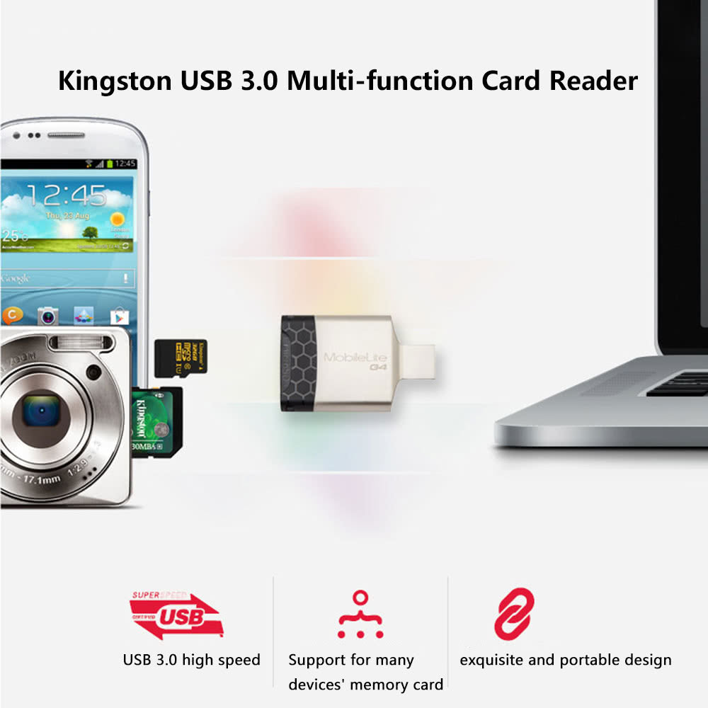 Go2Funlive Kingston Usb 3.0 Multi-Function Card Reader Adapter For Tf/Sd/Sdhc/Sdxc