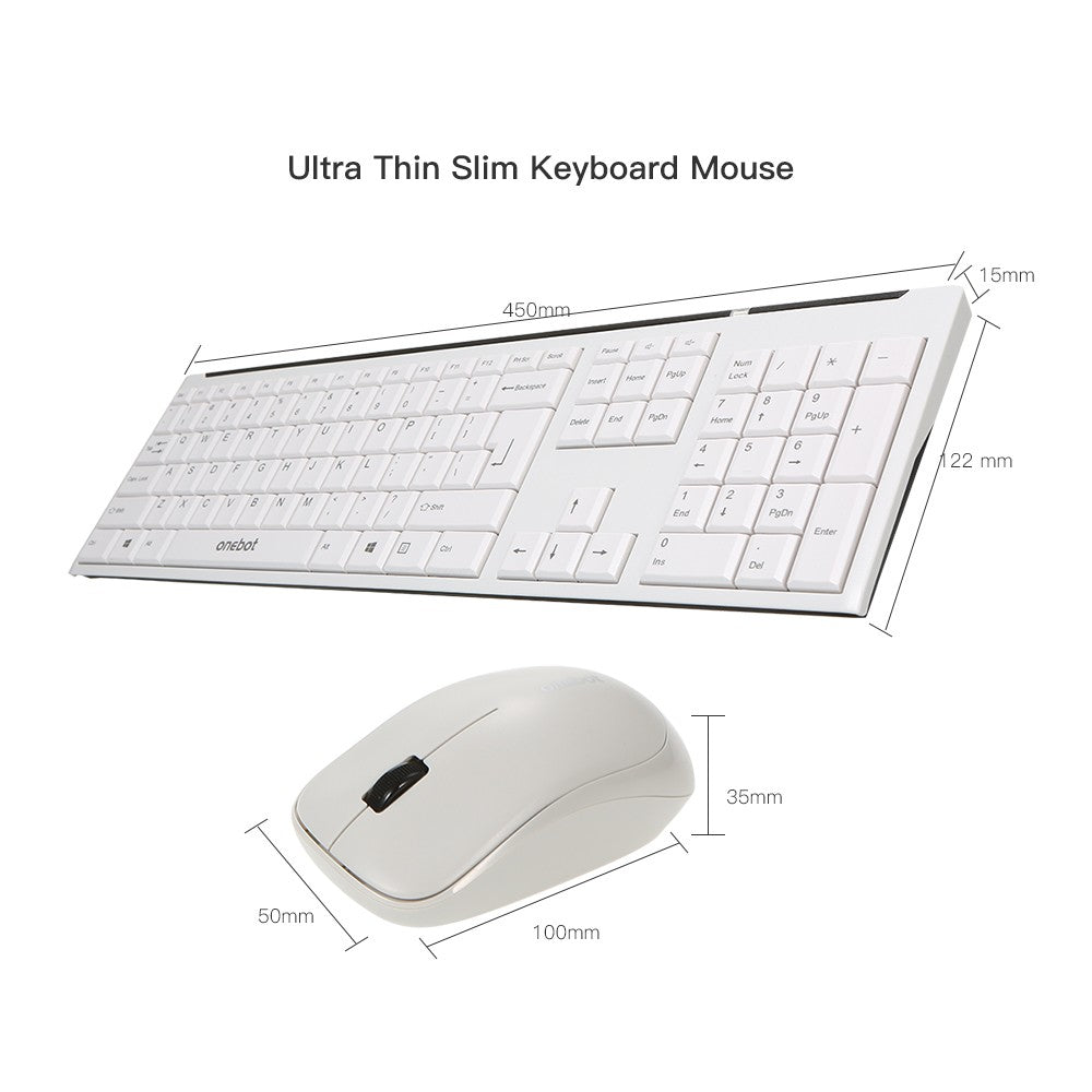 onebot Wireless Keyboard and Mouse Combo ¡ª Keyboard and Mouse Included 2.4GHz Connection