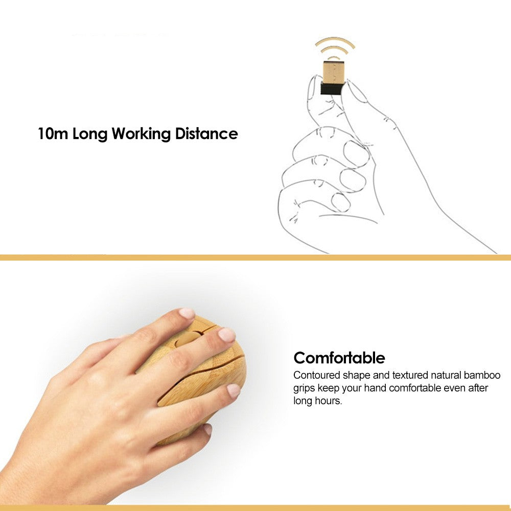 Go2Funlive 2.4G Wireless Optical Bamboo Mouse 3 Adjustable Dpi Computer Mouse With Usb Receiver For Notebook Pc Laptop Computer Yellow