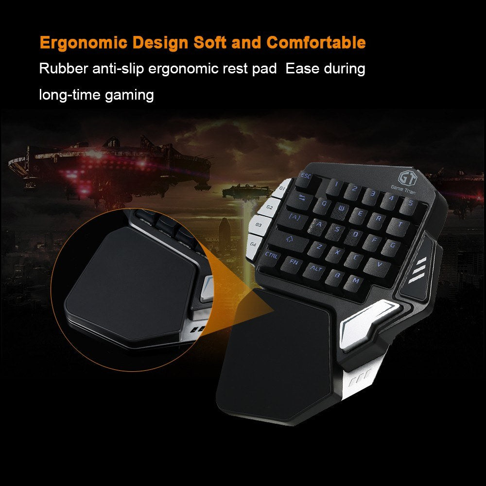 Go2Funlive Delux T9X Mechanical Wired Gaming Keyboard One Single Hand Game Keyboard Rgb Led Backlit Ergonomic With Full Macro Programmable Keys