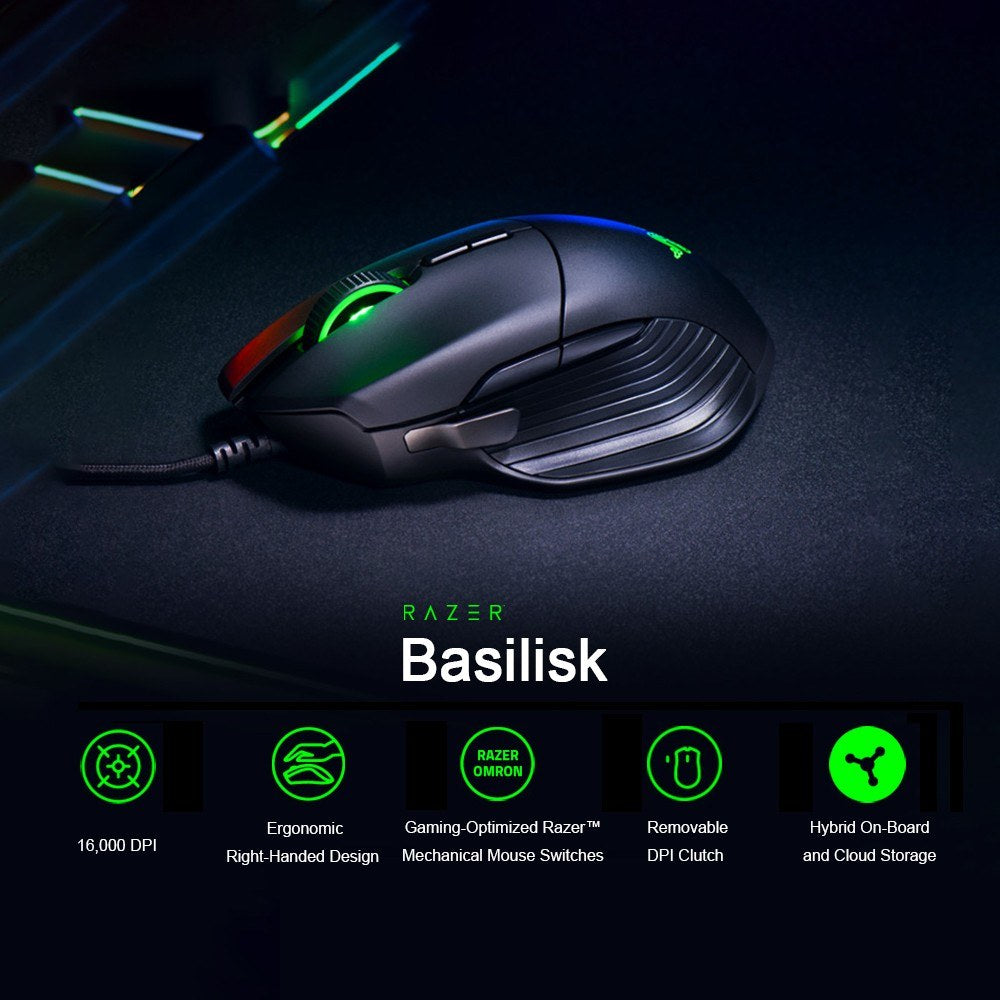 Go2Funlive Razer Basilisk Wired Gaming Mouse 16000Dpi Rgb 5G Optical Sensor Removable Dpi Clutch Scroll Resistance 8 Buttons For Gamers Black