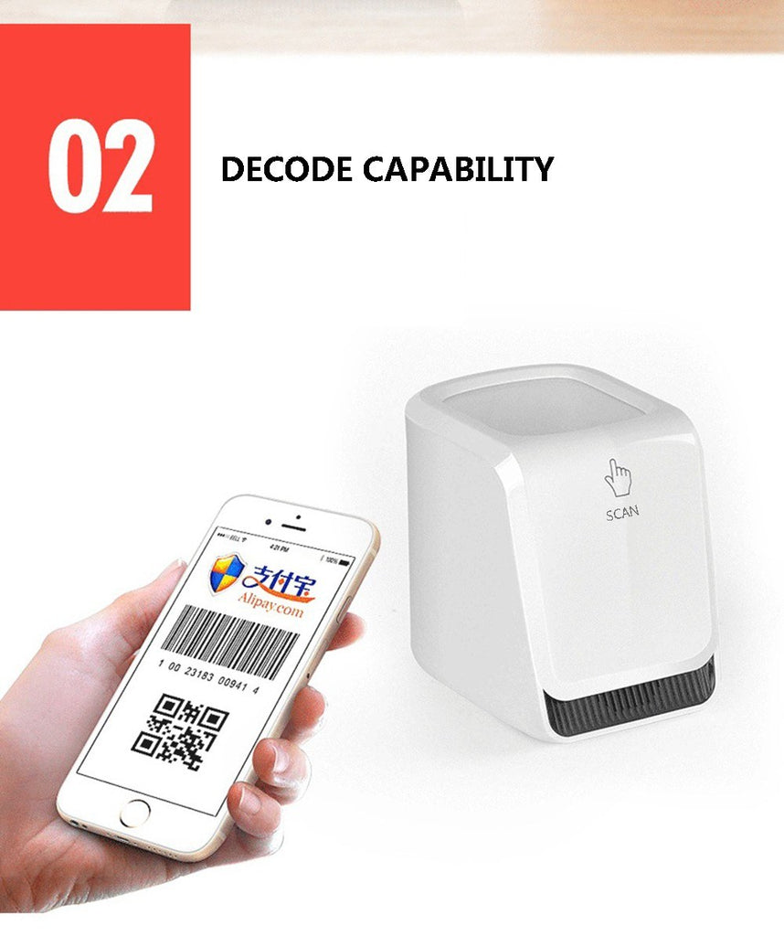 QR Barcode Scanner Handsfree Wired 2D/1D Automatic Barcode Reader for Mobile Payment