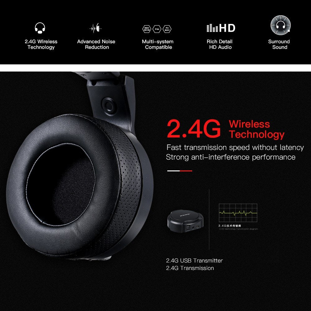 Go2Funlive Huhd Hw-S3 High-Tech 2.4Ghz Optical Wireless Gaming Headset 7.1 Surround Sound Usb Stereo Gaming Headphones Wired Gaming Headphones For X Box 360/Ps3/Ps4/Pc/Mac(Hw-S3)