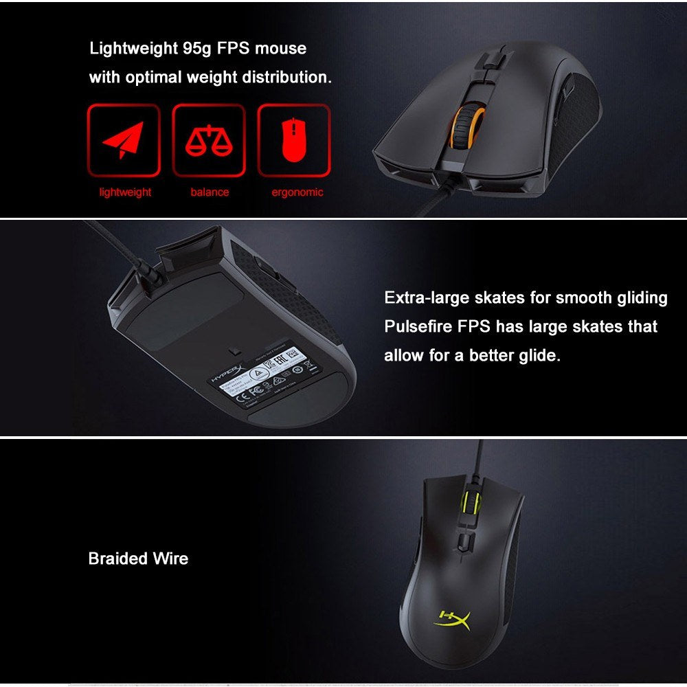 Go2Funlive Kingston Hyperx Pulsefire Fps Pro Rgb Gaming Mouse Wired Mice Pixart 3389 Sensor 16000 Dpi For Pc Laptop