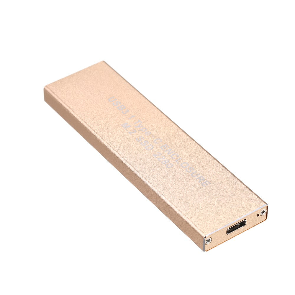 Go2Funlive Usb3.1 Type-C Ngff(M.2) Ssd Enclosure 10Gbps Faster Data Transfer Portable External Solid State Drive (Gold)
