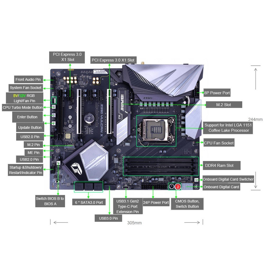 Colorful iGame Vulcan X V20 Intel Z370 LGA 1151 Motherboard Mainboard DDR4 SATA 6Gb/s
