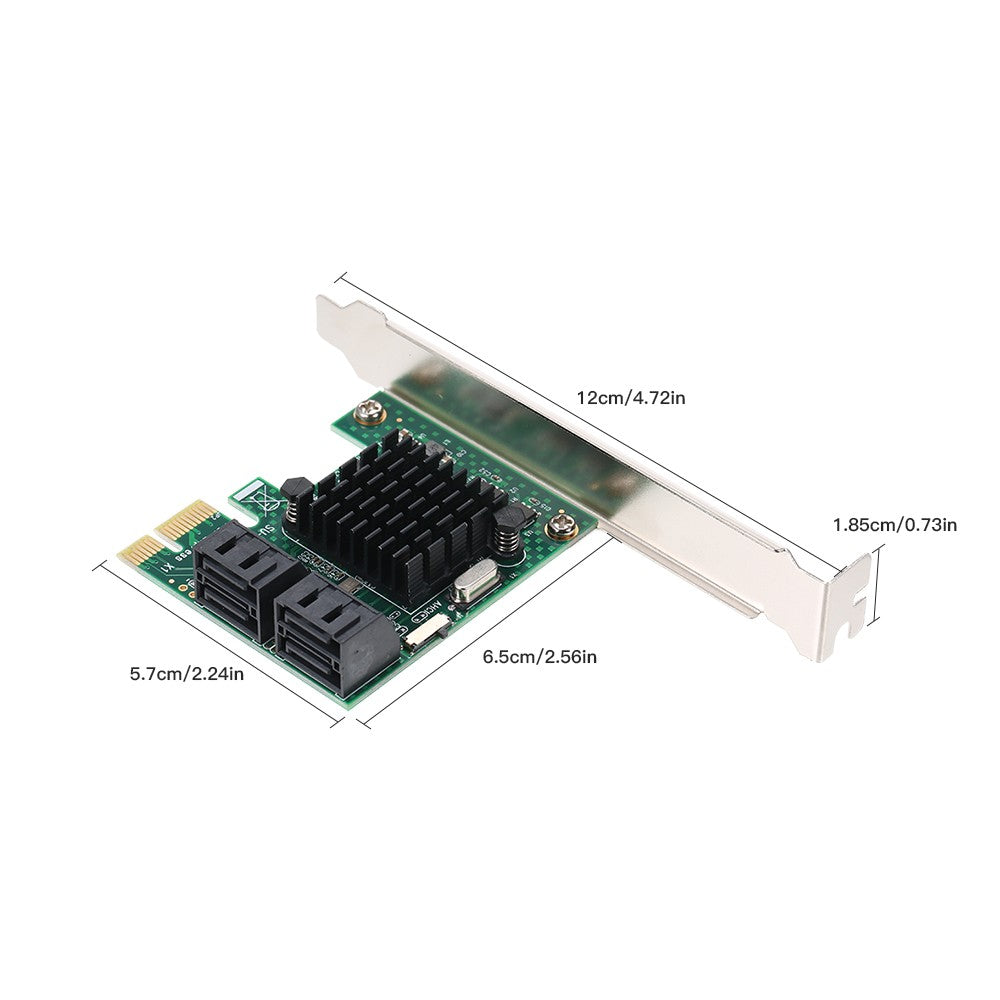 Go2Funlive Pci-E Sata Iii 4 Ports Adapter Card Pci Express To Sata Controller Card Sata Expansion Card With Low Profile Bracket