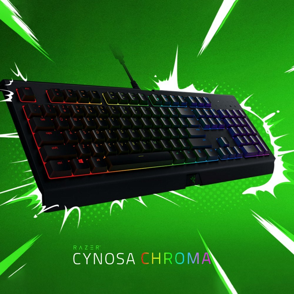 Go2Funlive Razer Cynosa Chroma Membrane Gaming Keyboard Rgb Backlit Keyboard For Game Fully Programmable Keys 104 Keys Spill-Resistant
