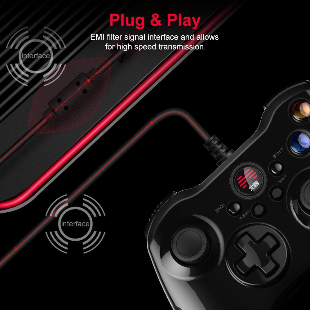 Go2Funlive Betop Asura2 Game Controller Wired Gamepad With Joystick For Pc Android Ps3(Black)