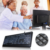 Go2Funlive Usb Interface Large Print Tri-Color Backlit Wired Keyboard