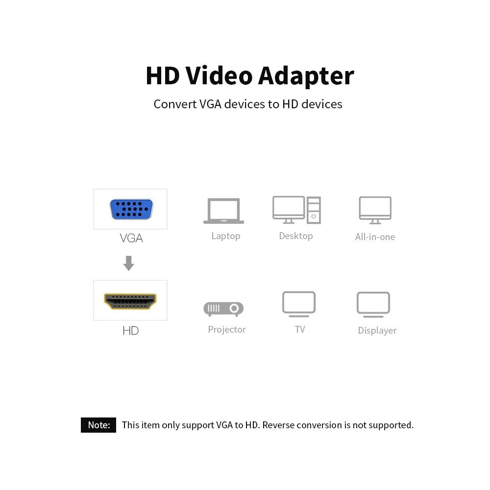 Go2Funlive Vention Vga To Hd Adapter With Audio Port 1080P Hd Coverter Adapter Cable For Laptop Pc Connect Tv /Projector 0.15M (Black)