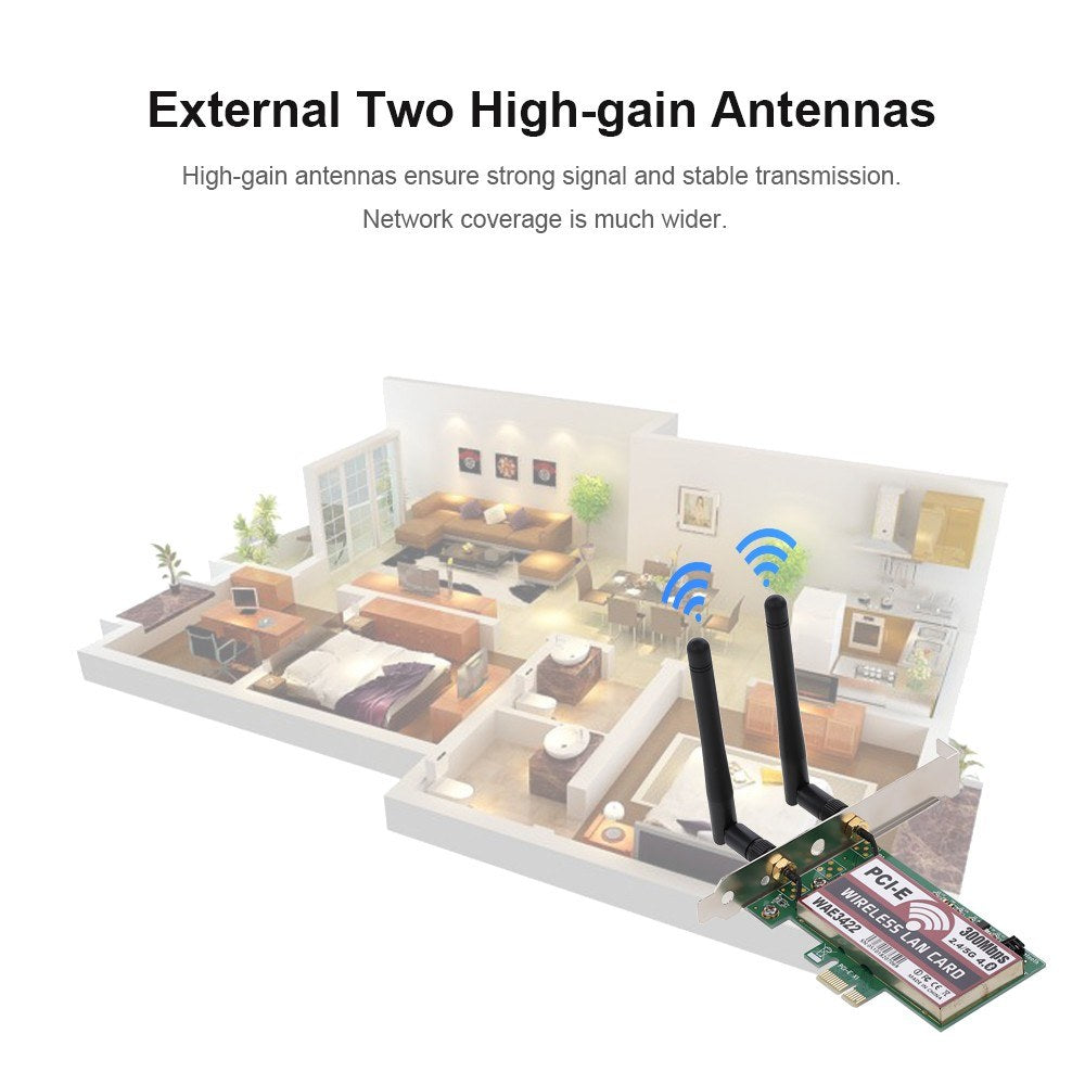 Wireless LAN Card BT Dual Band WiFi Network Card with High-gain Antennas 300M PCI-E Adapter Card