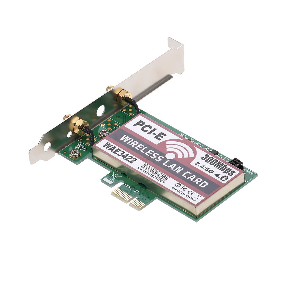 Go2Funlive Wireless Lan Card Bt Dual Band Wifi Network Card With High-Gain Antennas 300M Pci-E Adapter Card