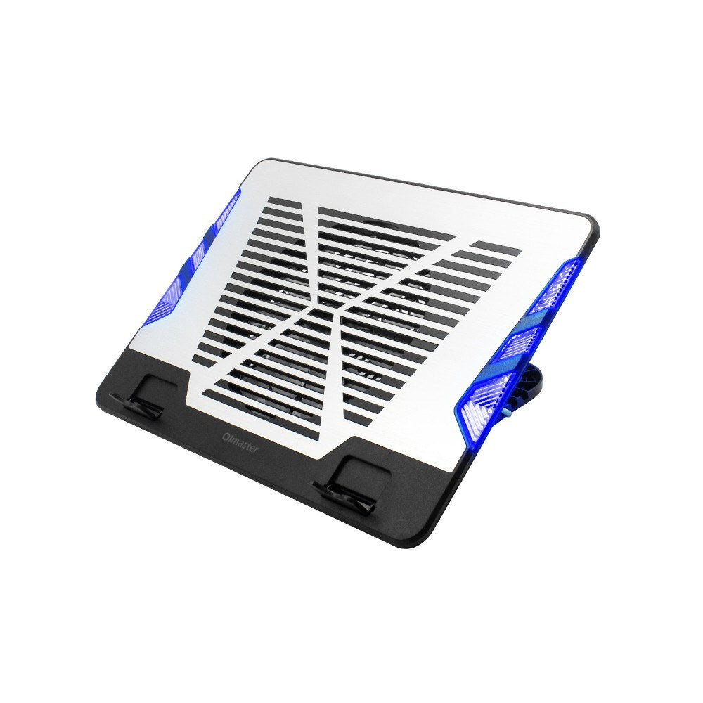 Go2Funlive Oimaster Adjustable Laptop Stand Ventilated Laptop Holder Aluminium Heat Dissipation Panel With Blue Light (Silver)