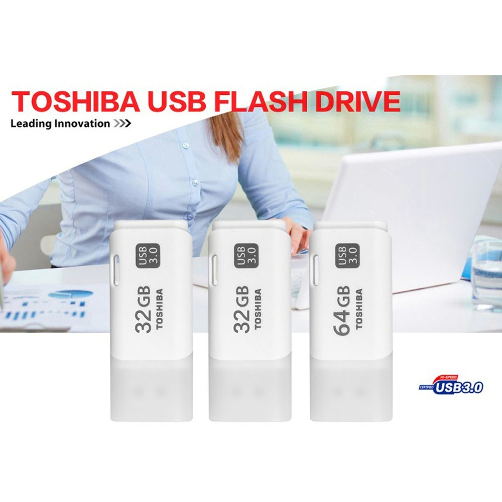 Go2Funlive Toshiba 64Gb Usb3.0 U Disk U301 Usb Flash Disk For Laptop/Desktop/Tv/Car (White)