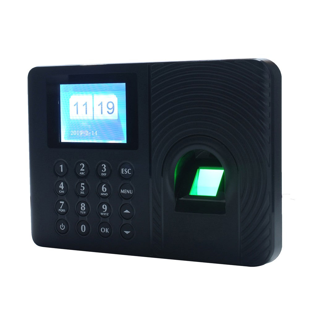 Go2Funlive Intelligent Biometric Fingerprint Password Attendance Machine Employee Checking-In Recorder 2.4 Inch Tft Lcd Screen Dc 5V Time Attendance Clock
