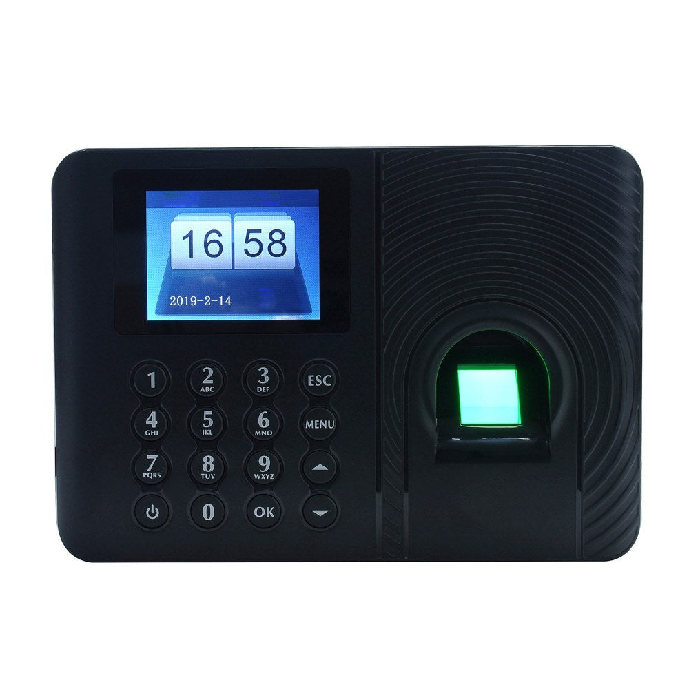 Intelligent Biometric Fingerprint Password Attendance Machine Employee Checking-in Recorder 2.4 inch TFT LCD Screen DC 5V Time Attendance Clock